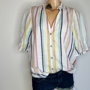 Maeve striped button front ruffled top size 8